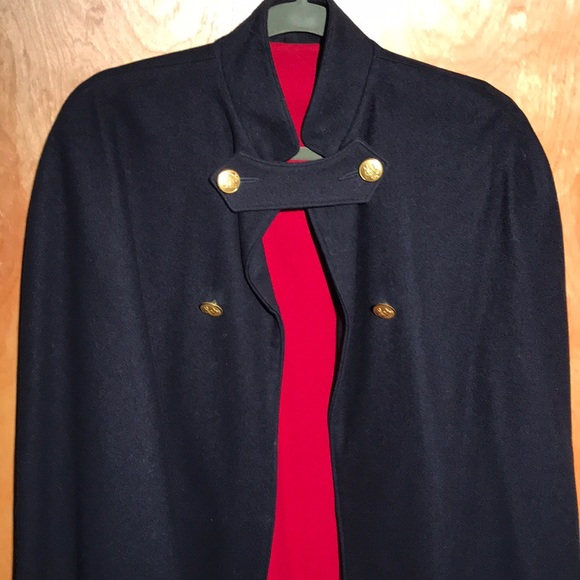 Vintage Navy/Red Wool Cape gold buttons